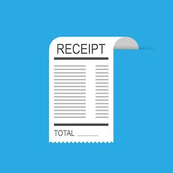 Icône de reçu dans un style plat isolé. facture compte