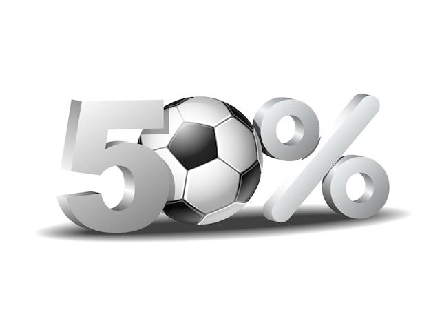 Icône de réduction de cinquante pour cent avec ballon de football
