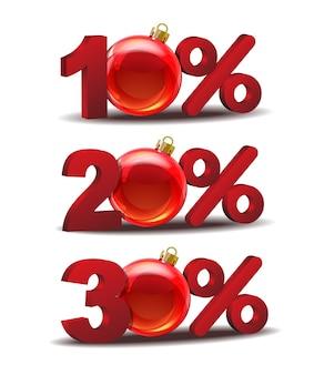 Icône de réduction de dix, vingt et trente pour cent avec des boules de noël en verre