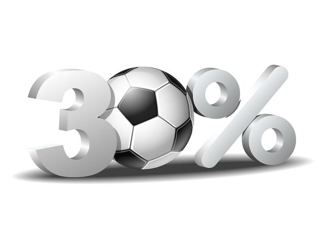 Icône de réduction de trente pour cent avec ballon de football