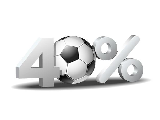 Icône de remise de quarante pour cent avec ballon de football