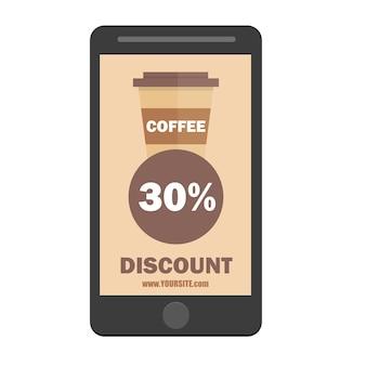 Icône de remise de tasse de café de smartphone. icône de tasse de café. style design plat. silhouette de tasse de papier de café dans la couleur élégante