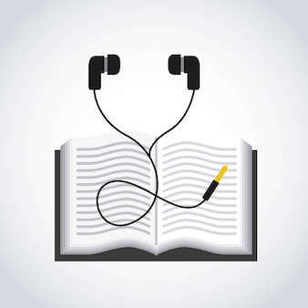 Icône représentant un livre et un casque. conception de livres audio. graphique de vecteur