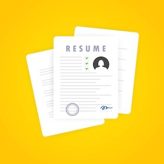 Icône de reprise. recherche d'un emploi. sélection du personnel. recherche de personnel professionnel. analyse du cv du personnel. formulaire de reprise. notion d'emploi. vecteur sur fond blanc isolé. eps 10