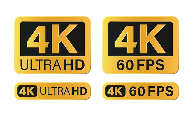 Icône de résolution 4k ultra hd isolé sur fond blanc