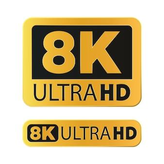Icône de résolution ultra hd 8k isolée