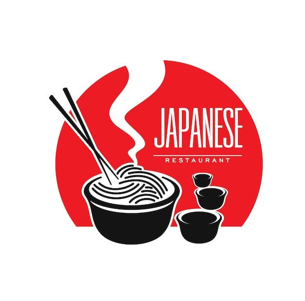 Icône de restaurant de cuisine japonaise avec nouilles et sauce, symbole vectoriel. emblème de bar ou de café et de restaurant japonais et asiatique avec des nouilles japonaises ramen ou udon et des baguettes