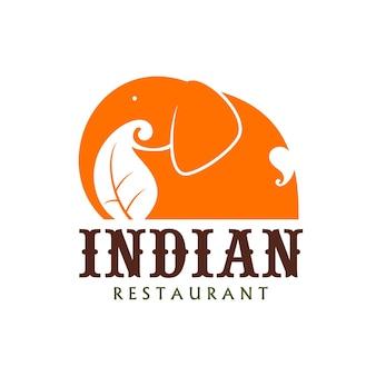 Icône de restaurant indien d'éléphant, cuisine indienne