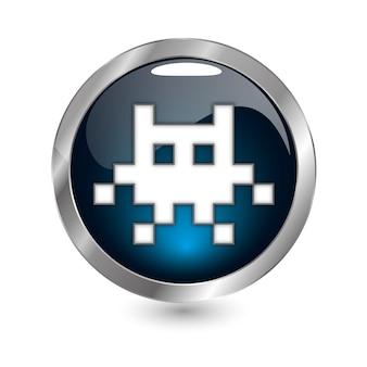 Icône rétro bleu