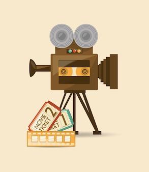 Icône de rétro-caméra et billets de cinéma sur fond blanc