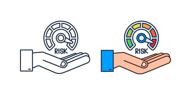 Icône de risque sur le compteur de vitesse dans les mains. compteur à haut risque. illustration vectorielle de stock.