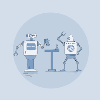 Icône de robot jouant aux échecs, technologie de mécanisme d'intelligence artificielle futuriste