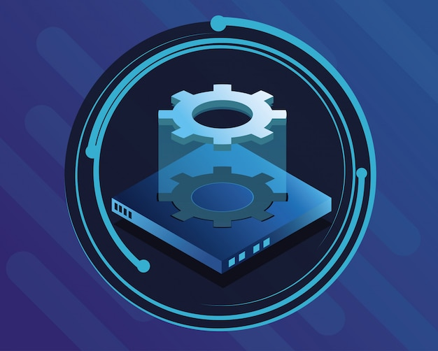 Icône ronde bleu technologie numérique