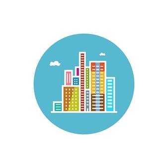 Icône ronde colorée bâtiments modernes, icône du centre d'affaires, icône de la ville, illustration vectorielle