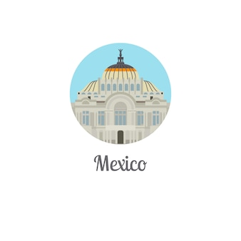 Icône ronde isolée du mexique palais