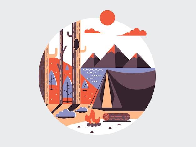 Icône ronde plate de camping