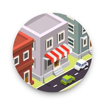 Icône ronde avec ville isolée sur fond blanc. illustration vectorielle