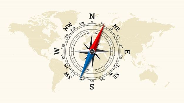 Icône de rose des vents sur fond de carte du monde