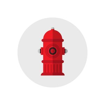 Icône rouge bouche d'incendie. icône de matériel de feu silhouette unique. style plat