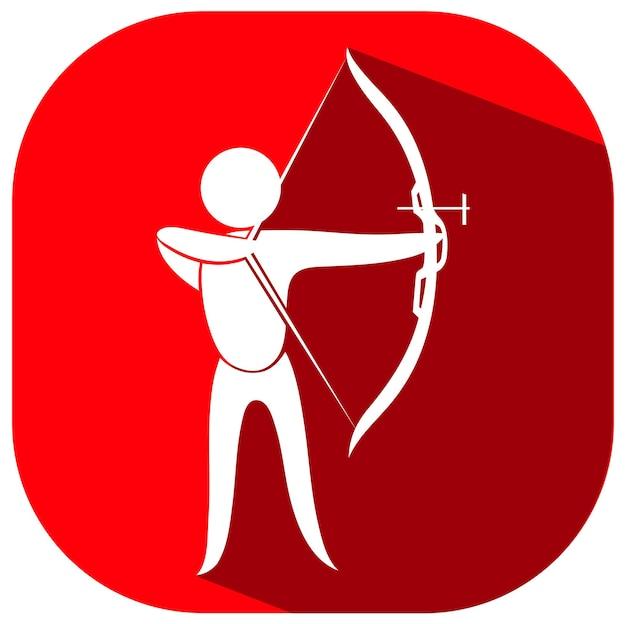 Icône rouge pour le tir à l'arc