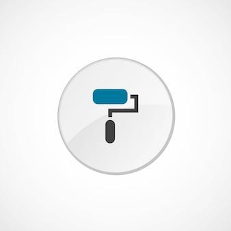 Icône de rouleau de peinture 2 de couleur, gris et bleu, badge cercle