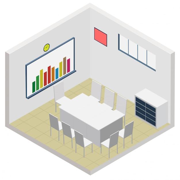 Icône de salle de bureau isométrique