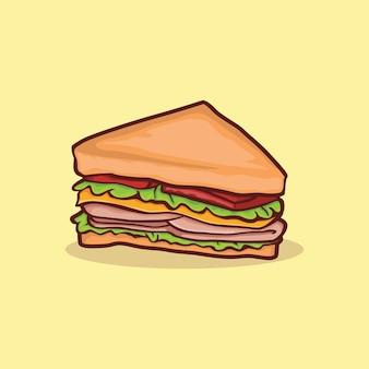 Icône de sandwich isolé vector illustration avec contour cartoon couleur simple