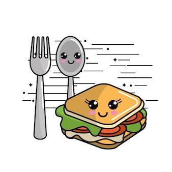 Icône sandwich kawaii avec de belles expressions