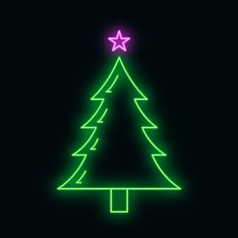 Icône de sapin de noël concept avec style de lueur de néon vert étoile, bonne année et illustration vectorielle plane joyeux noël, isolée sur fond noir. heure d'hiver des vacances de noël.