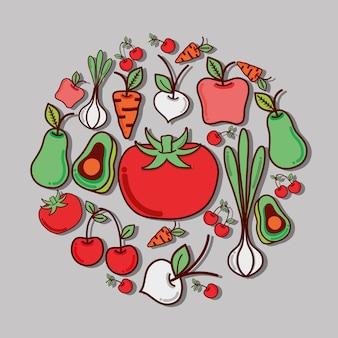 Icône savoureuse de délicieux légumes et fruits