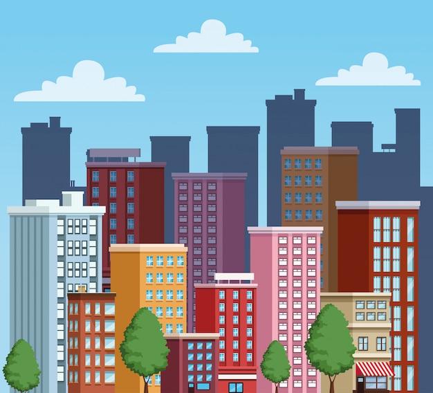 Icône de scène urbaine bâtiments paysage urbain