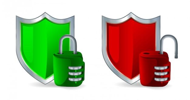 Icône de sécurité: bouclier et cadenas