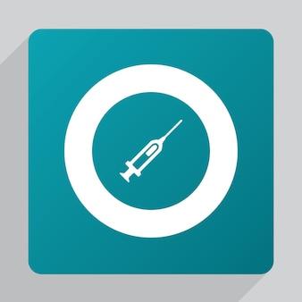 Icône de seringue plate, blanche sur fond vert