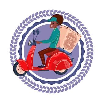 Icône de service de livraison rapide femme afro-américaine isolée livrer des produits d'épicerie sur un logo de modèle de scooter rétro