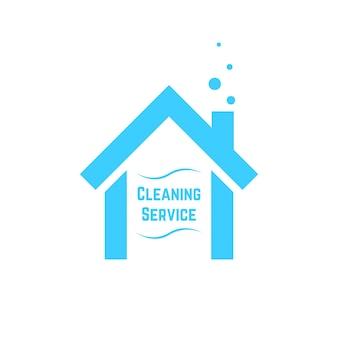 Icône de service de nettoyage avec maison bleue. concept d'identité visuelle, femme de ménage, emblème d'entretien ménager, nettoyage. isolé sur fond blanc. illustration vectorielle de style plat tendance marque moderne design