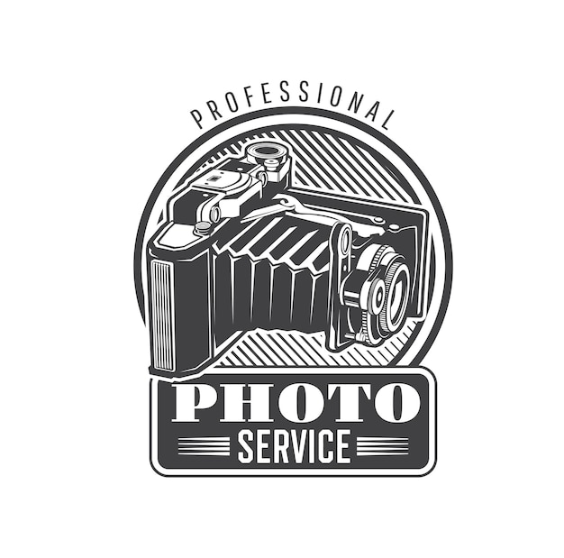 Icône de service photo avec appareil photo pliable vintage. équipement de photographie professionnel, service de réparation et d'entretien d'appareils photo rétro signe monochrome ou emblème vectoriel avec ancien appareil photo à soufflet de format moyen