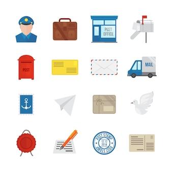 Icône de service postale set plat avec enveloppe de courrier de livraison et paquets de colis illustration vectorielle isolée