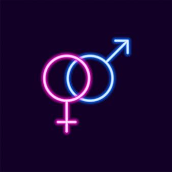 Icône de sexe néon, lettre de texte des années 80 glow light style rétro techno acide