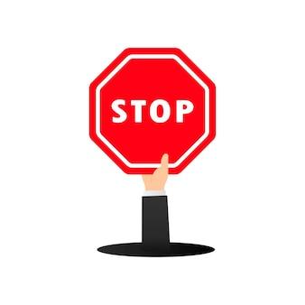Icône de signal d'arrêt de la circulation. contrôle du trafic routier. vecteur sur fond blanc isolé. eps 10.