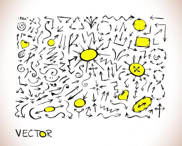 Icône de signe de flèche de doodle noir et jaune