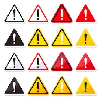 Icône signe plat symbole avec point d'exclamation de danger haute tension isolé