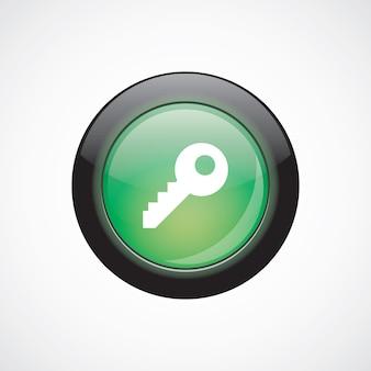 Icône de signe de verre clé bouton brillant vert. bouton du site web de l'interface utilisateur