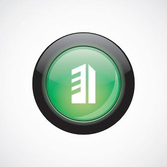 Icône de signe de verre de construction bouton brillant vert. bouton du site web de l'interface utilisateur