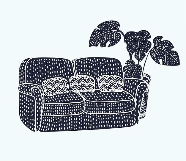 Icône de silhouette noire de canapé