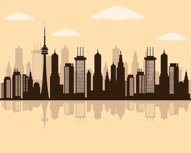 Icône de silhouette de scène skyline paysage urbain