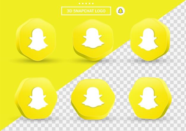 Icône snapchat 3d dans un cadre de style moderne et un polygone pour les logos d'icônes de médias sociaux