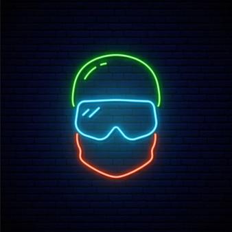 Icône de snowboarder néon