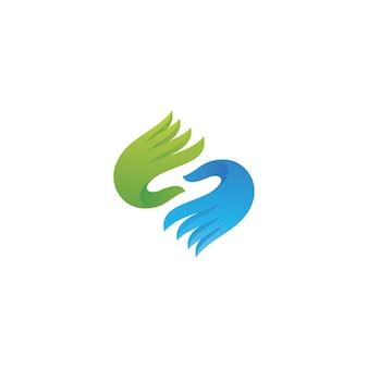 Icône de soins des mains coloré moderne pour la création de logo de charité sociale