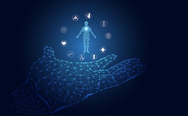 Icône de soins de santé abstraite main science médicale