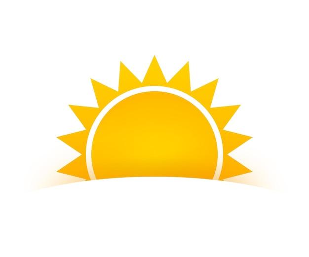Icône de soleil réaliste pour la conception météo sur fond blanc.